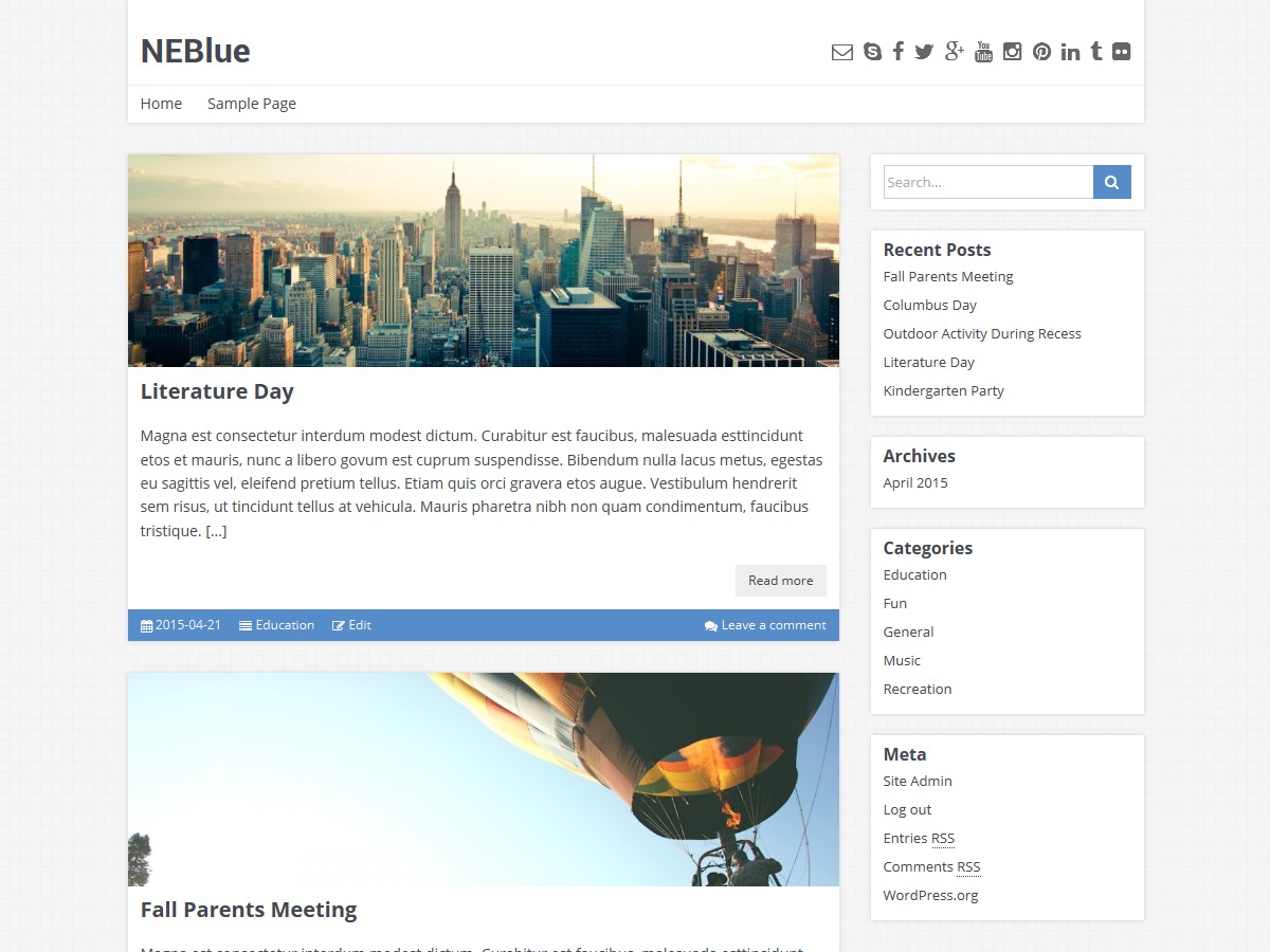NEBlue WordPress blog theme