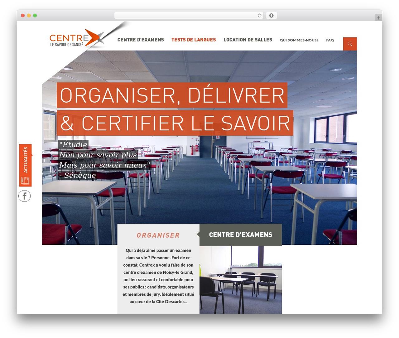 Institution WordPress website template - centrex.fr