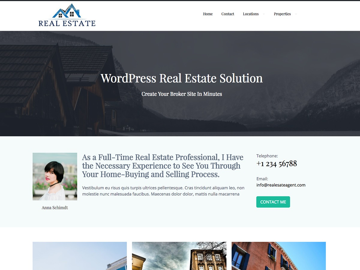 real estate agent WordPress blog theme