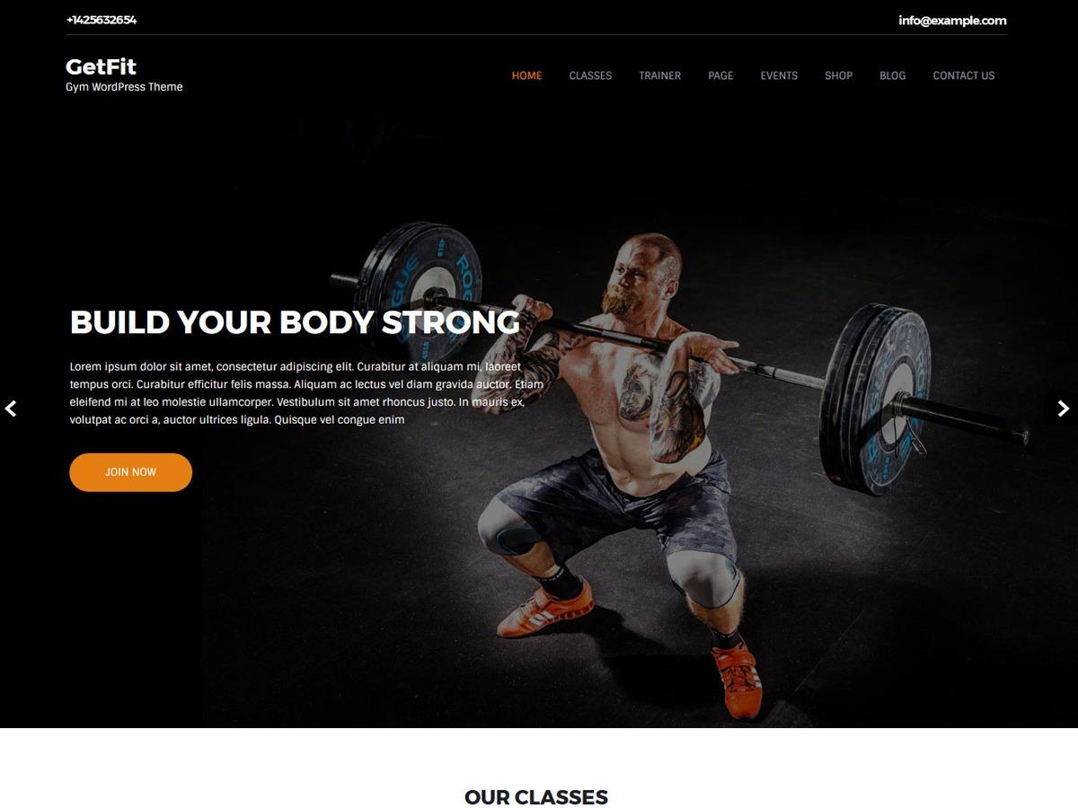 Getfit Lite gym WordPress theme