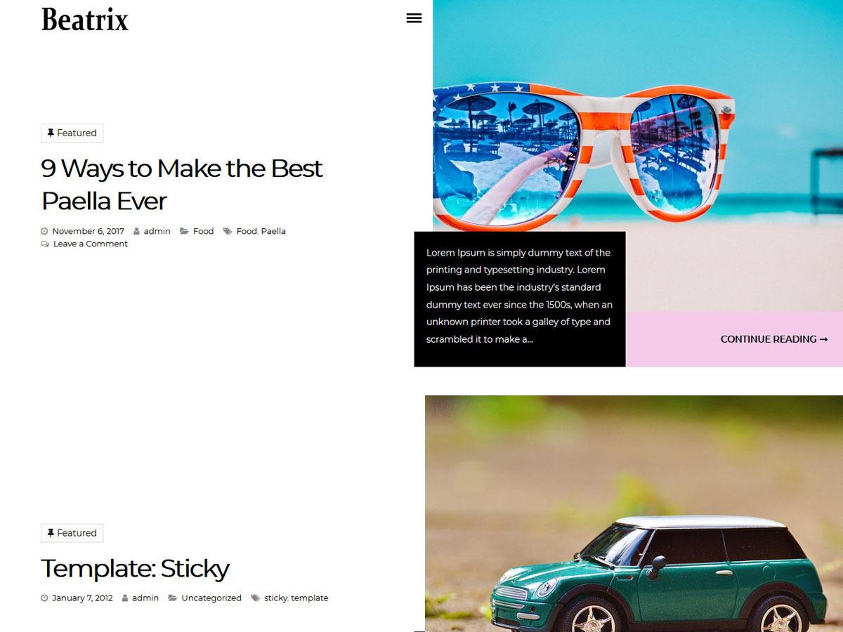 Beatrix Lite WordPress blog theme