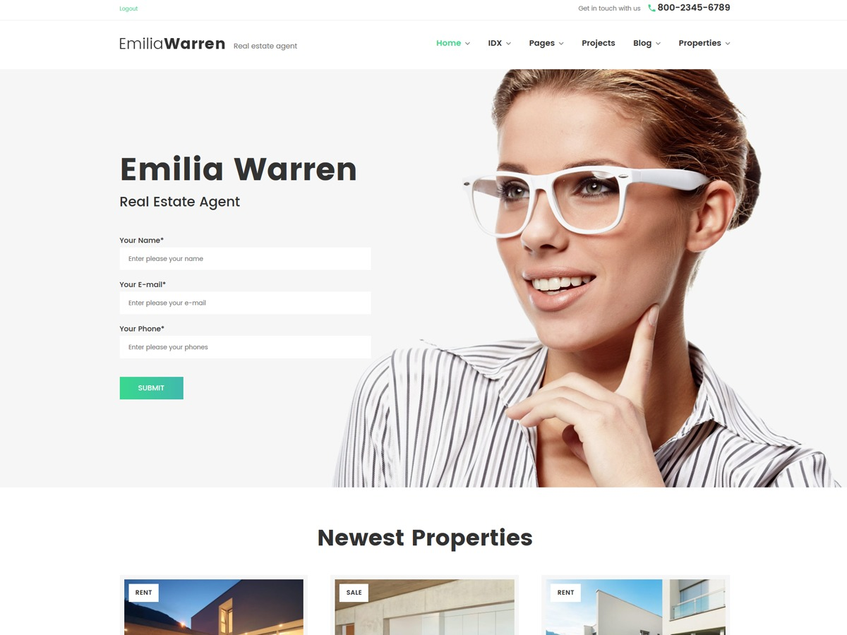 EmiliaWarren real estate template WordPress