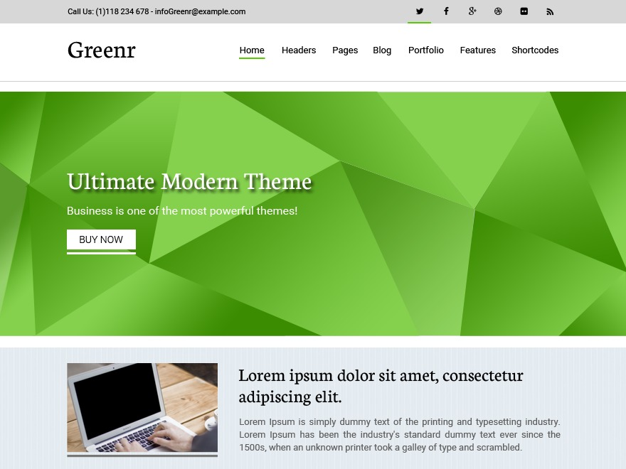 Greenr WordPress ecommerce template