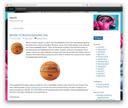 WordPress template Activetab - sportfc.net