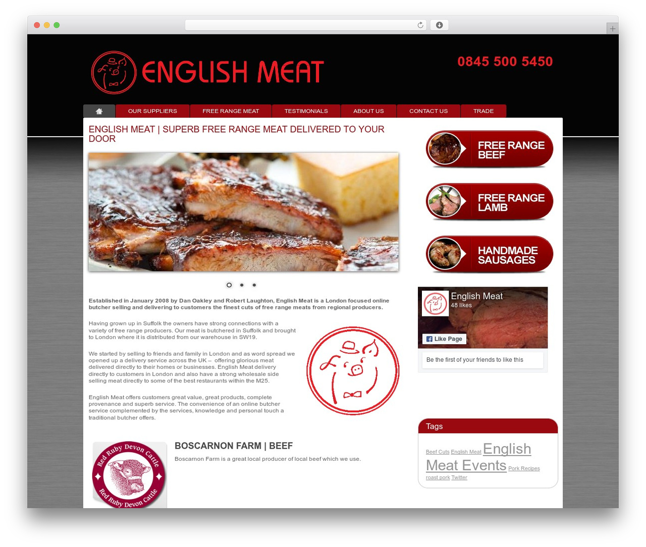 Modular WordPress template for business - englishmeat.co.uk