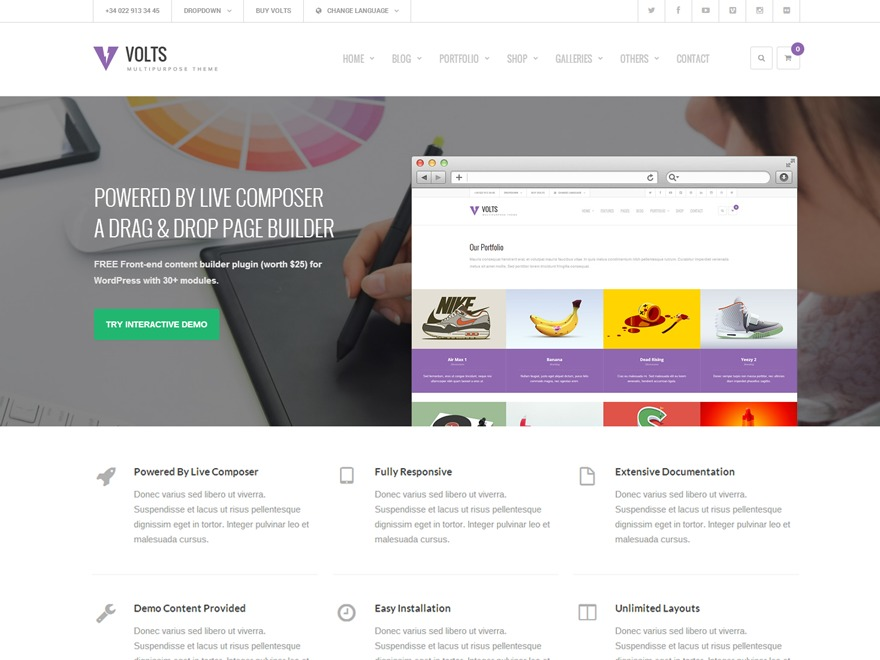 Volts - WordPress Theme WP template