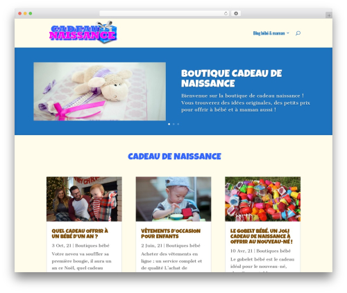 WordPress website template Divi - cadeau-naissance.org