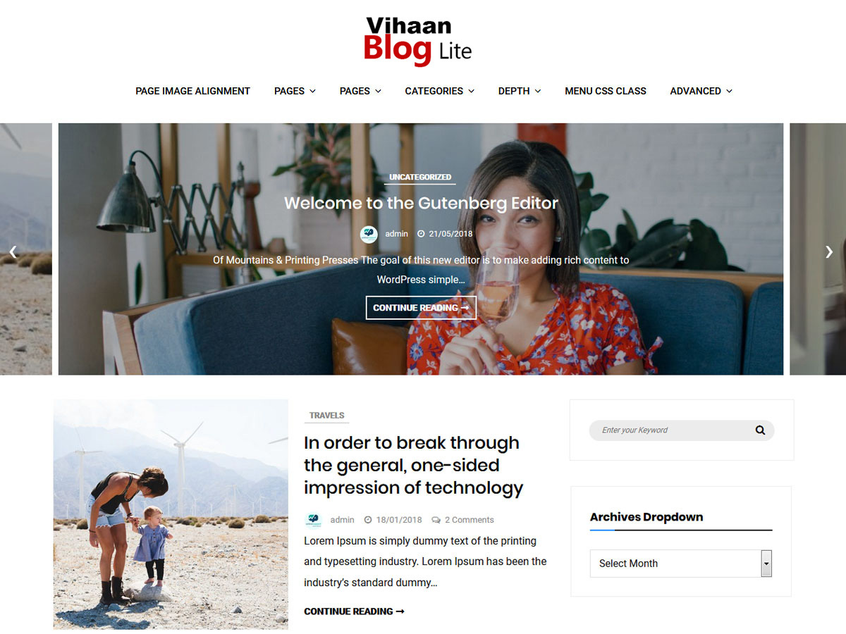 Vihaan Blog Lite WordPress blog template