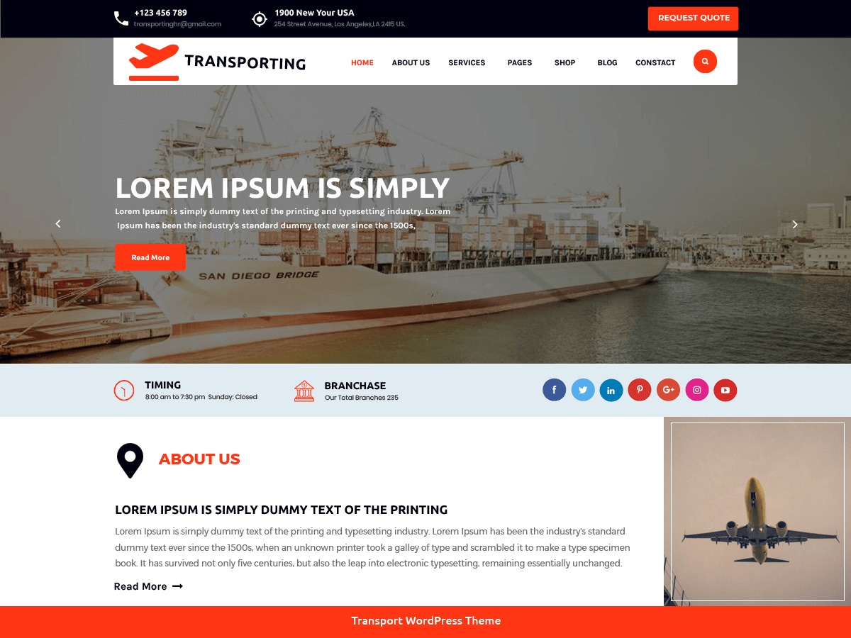 Transport Movers company WordPress theme