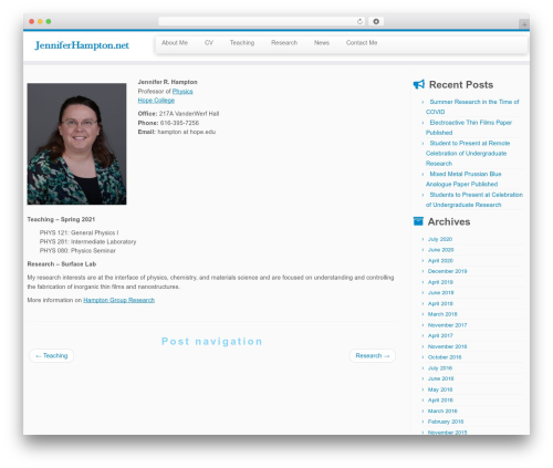 Customizr free website theme - jenniferhampton.net