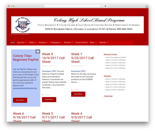 evolve Plus WordPress website template - colonybands.org