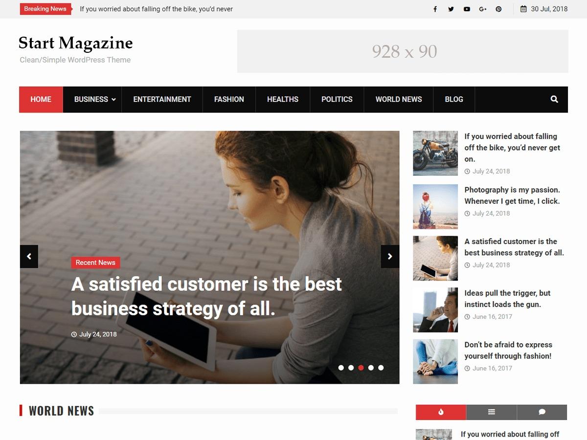 Start Magazine newspaper WordPress theme