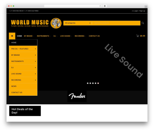 BoxShop WordPress ecommerce template - worldmusic-usa.com