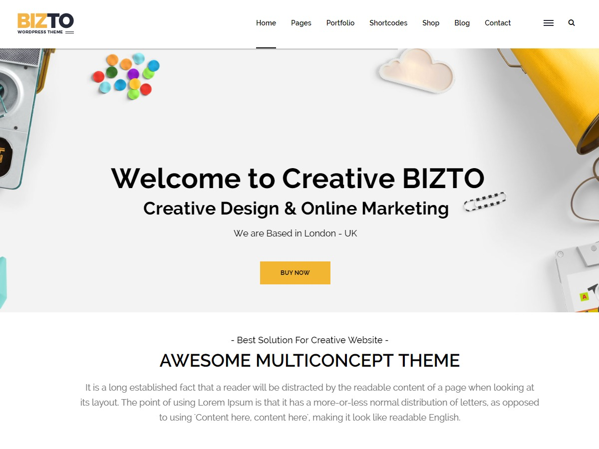 bizto WordPress template for business