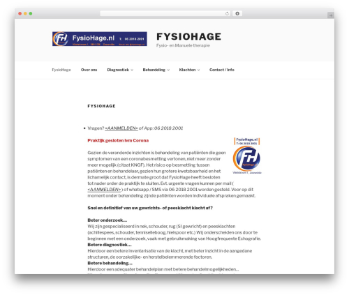 Twenty Seventeen WordPress website template - fysiohage.nl