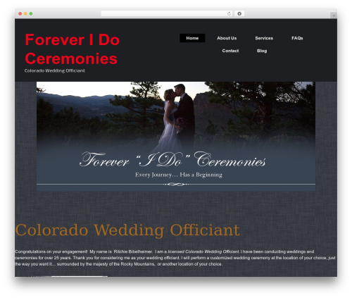 BizFlare WordPress wedding theme - foreveridoceremonies.com