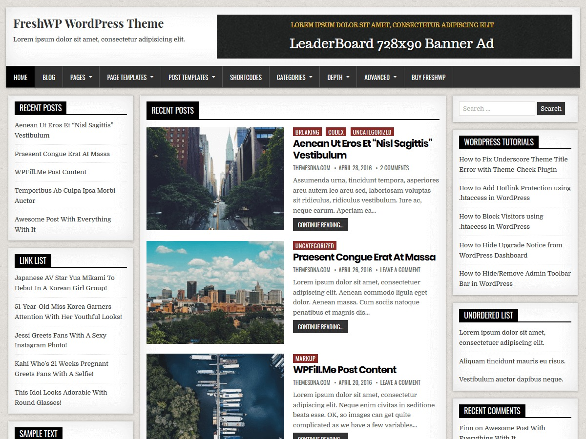FreshWP WordPress blog theme