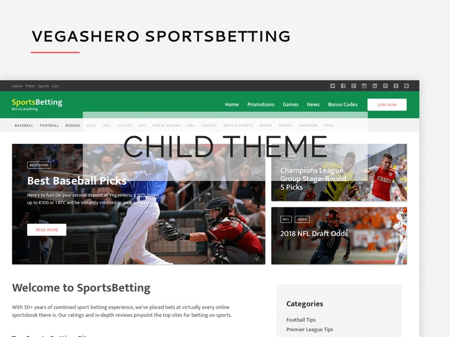 VegasHero Sports Betting Child Theme WP theme