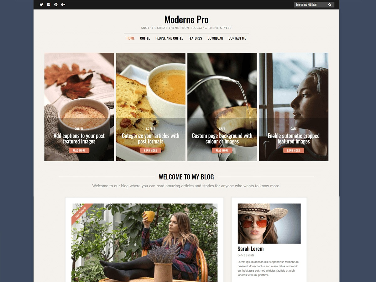 Moderne Pro WordPress blog theme by Blogging Theme Styles