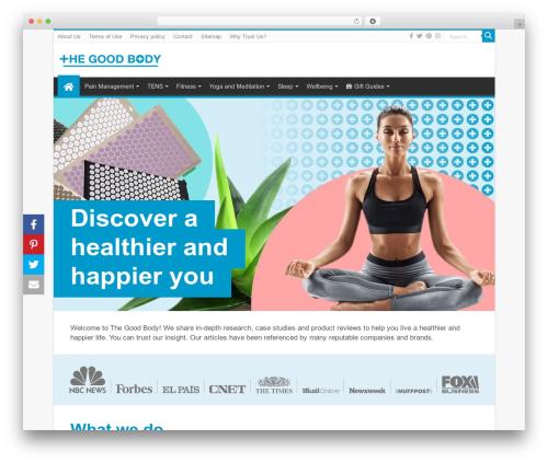 Sahifa Child WordPress theme design - thegoodbody.com