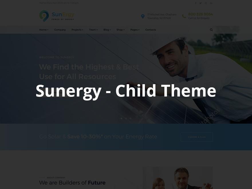 Sunergy - Child WordPress website template