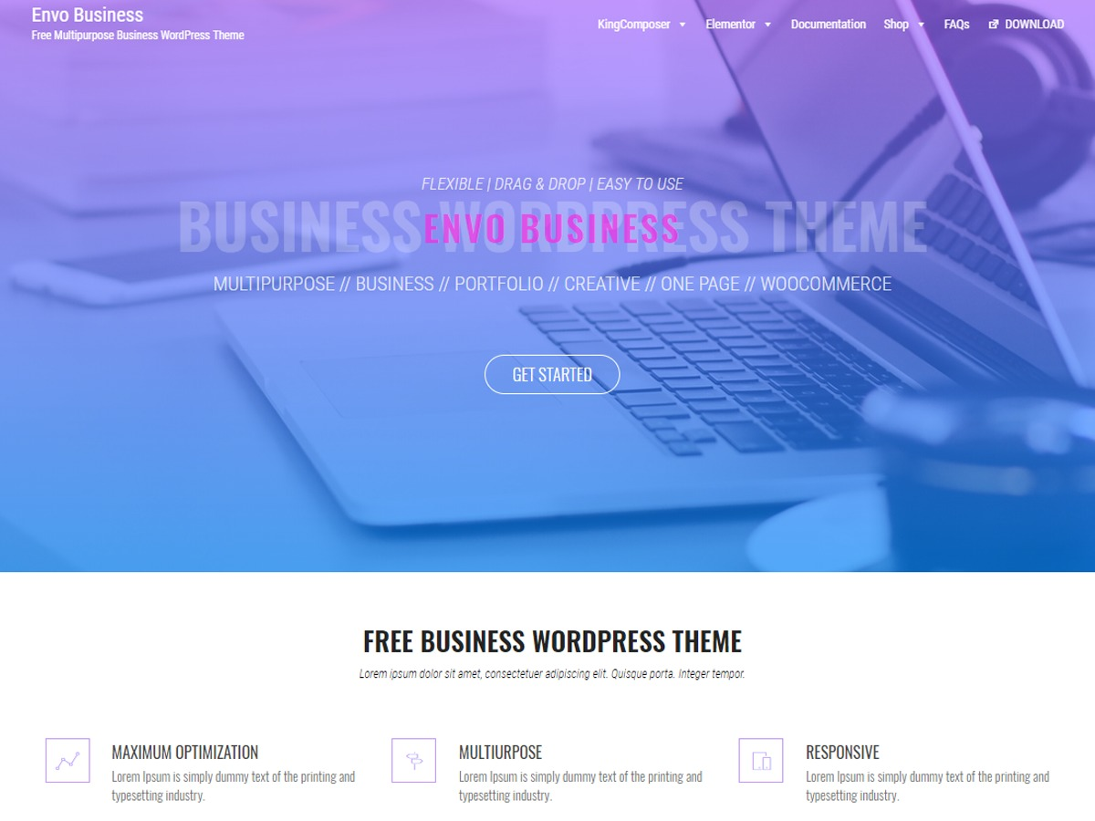 Envo Business WordPress shop theme