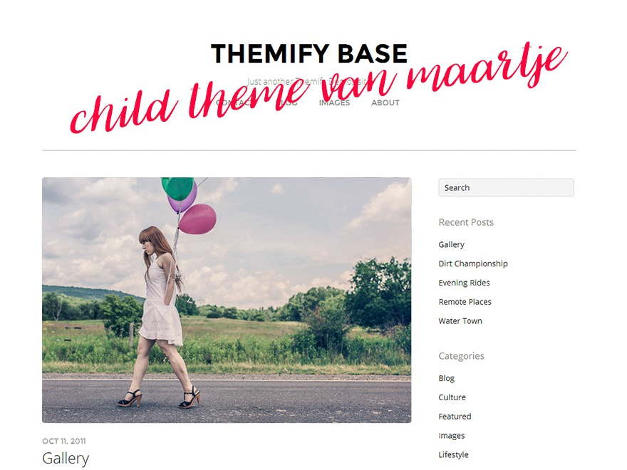 WordPress theme Themify Base Child Theme