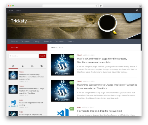 Hueman top WordPress theme - tricksty.com