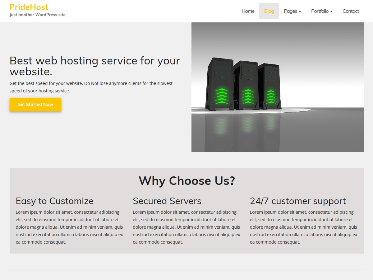 PrideHost business WordPress theme