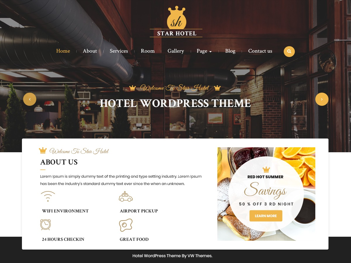 VW Hotel company WordPress theme