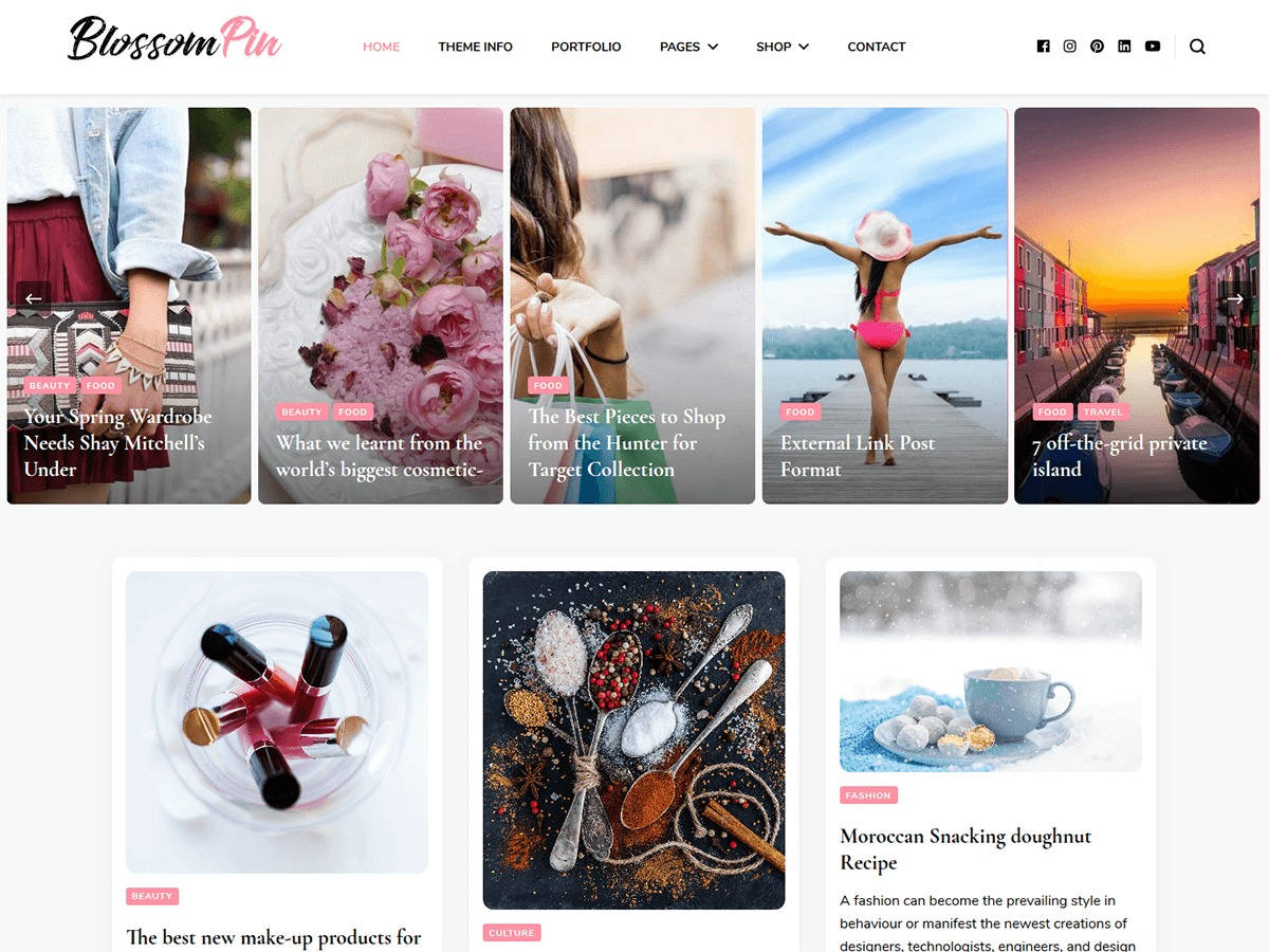 Blossom Pin personal blog WordPress theme