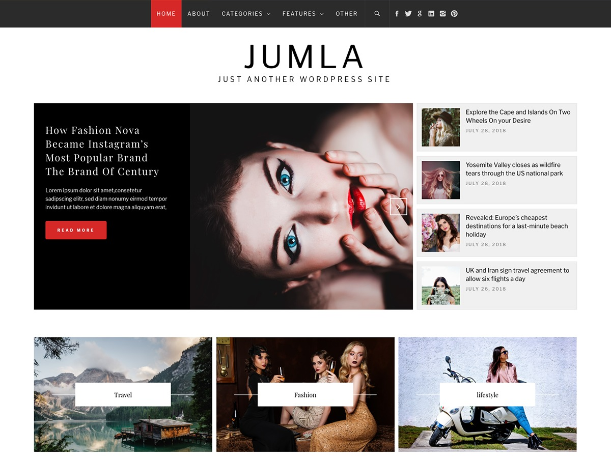 Jumla WordPress blog theme