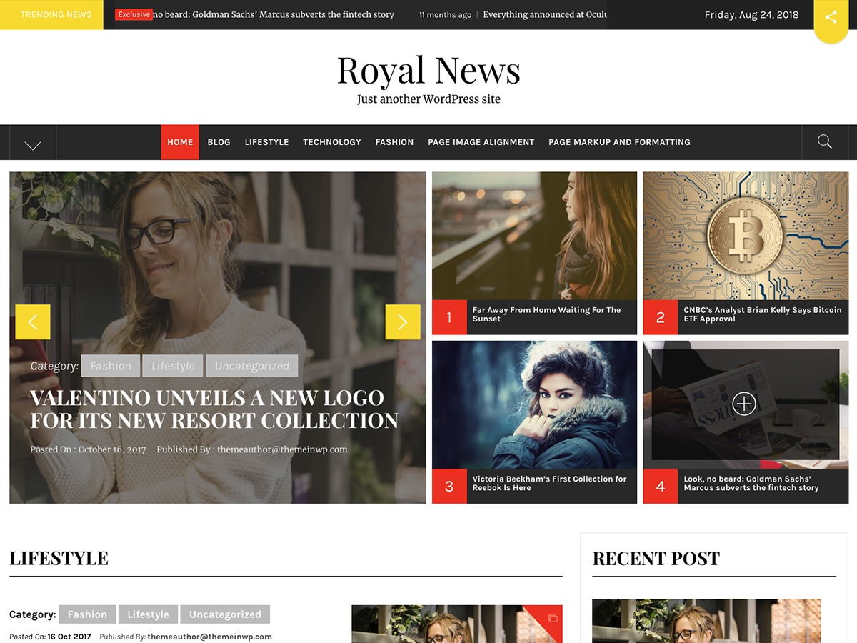 Royal News best WordPress magazine theme