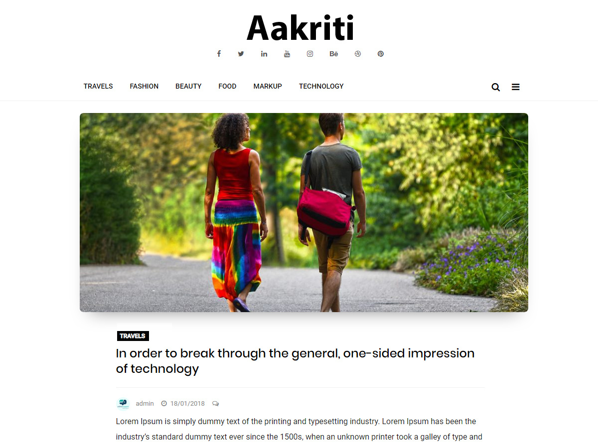 Aakriti Personal Blog WordPress blog template