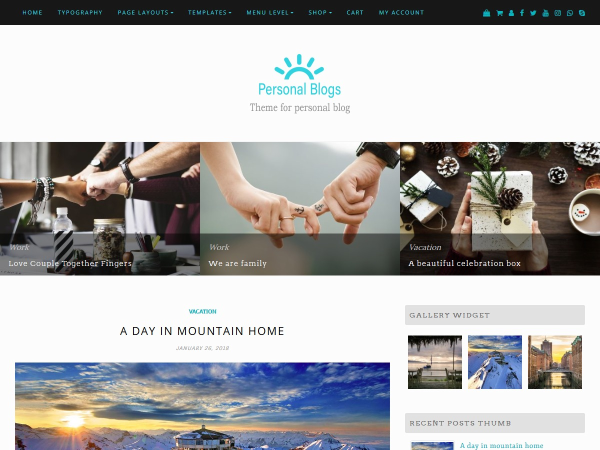 Personal Blogs WordPress ecommerce theme