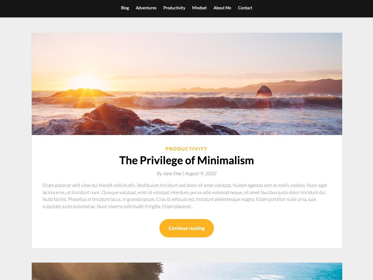 SimpleBlogily WordPress travel theme