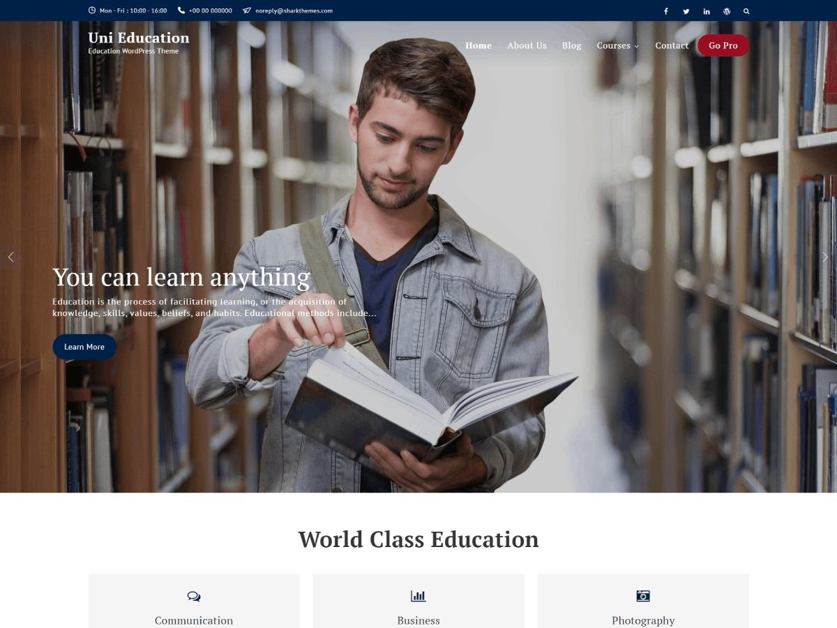 Uni Education WordPress page template