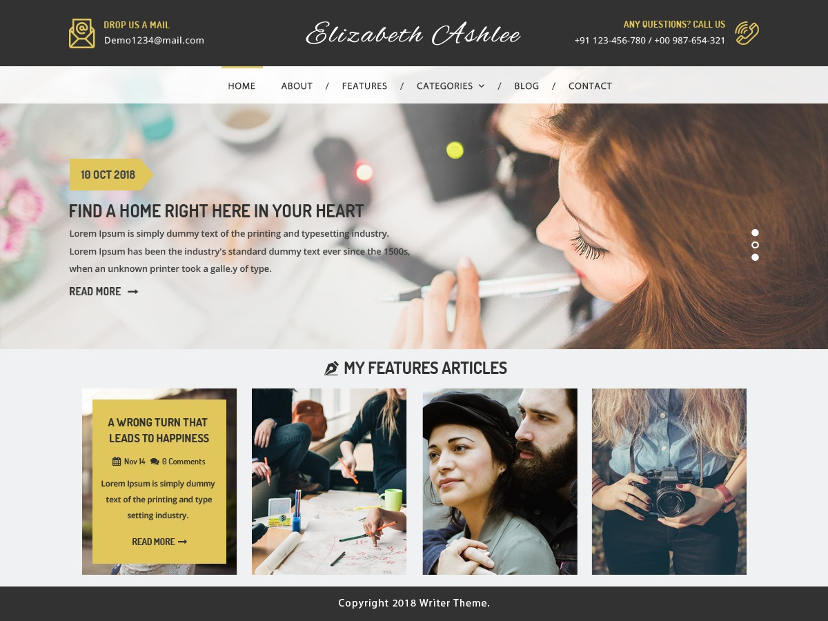 VW Writer Blog WordPress movie theme