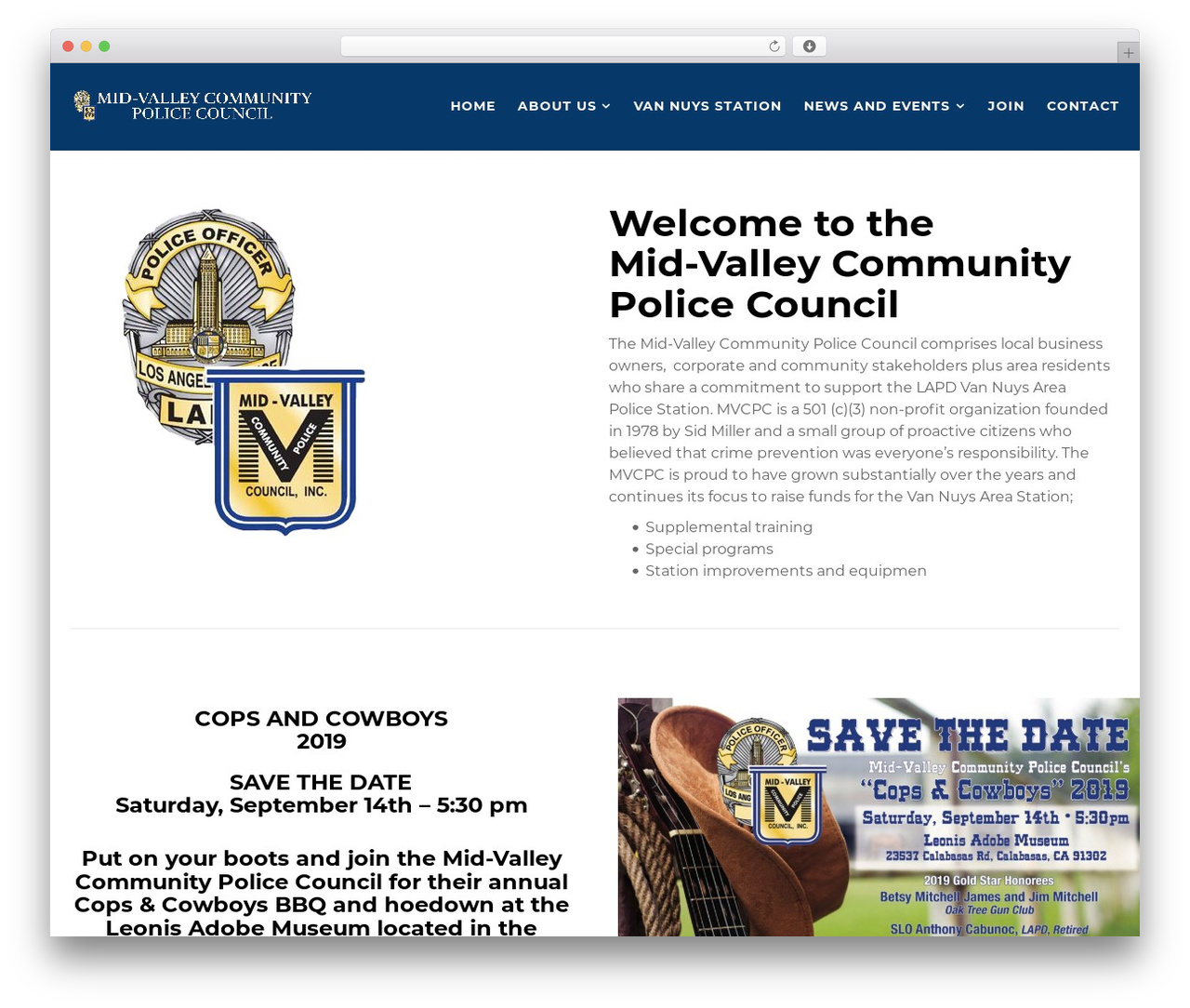 WordPress website template Politist - midvalleypolicecouncil.org