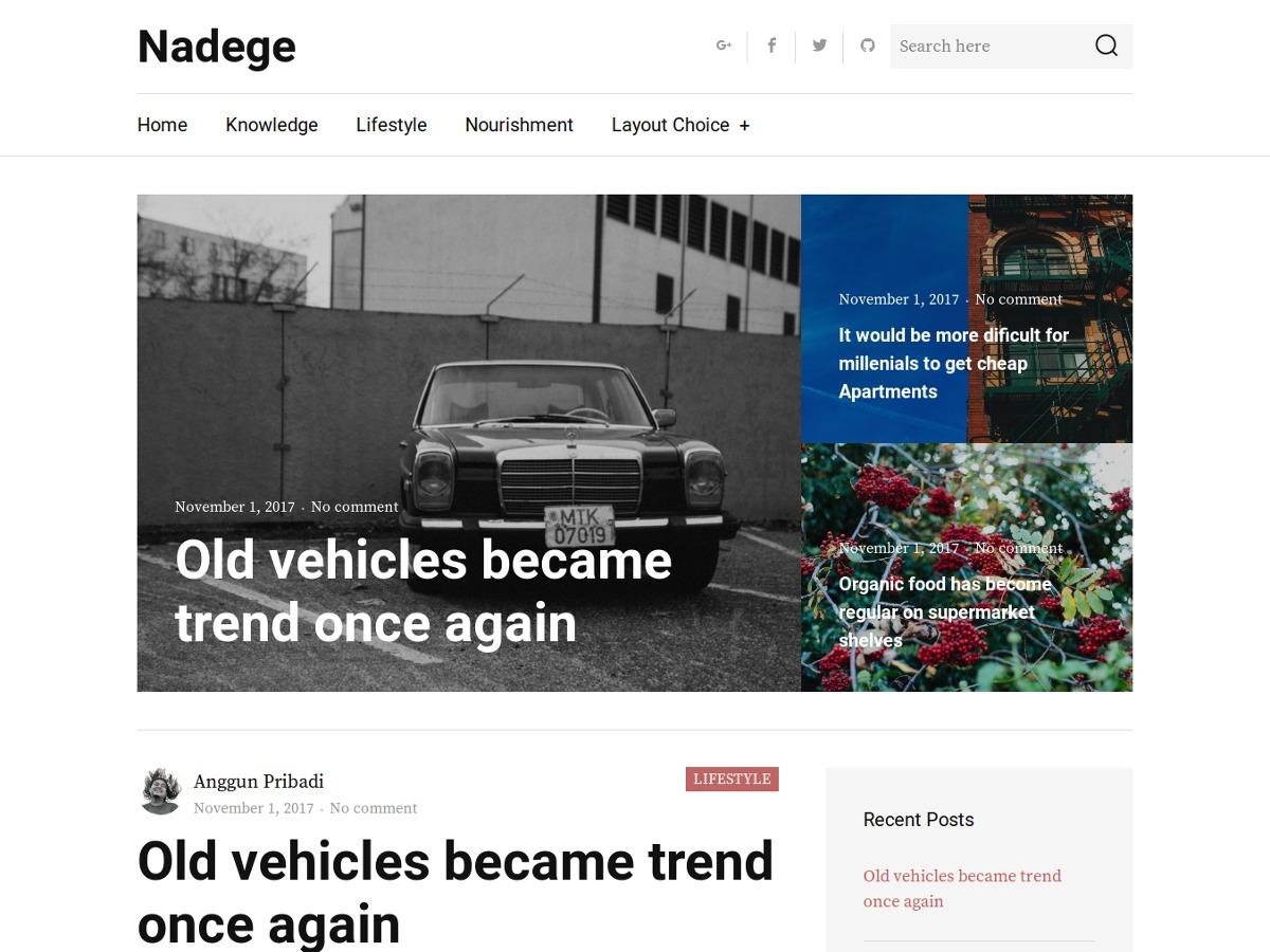 Nadege WordPress blog template