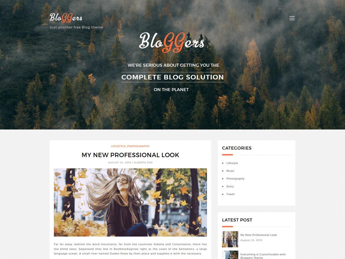 Bloggers Lite WordPress blog theme