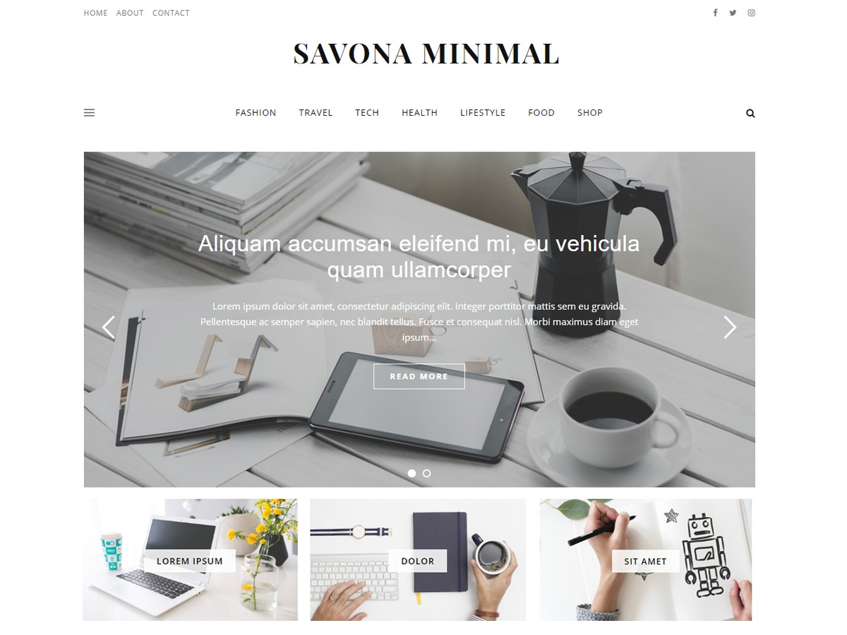 Savona Minimal WordPress magazine theme