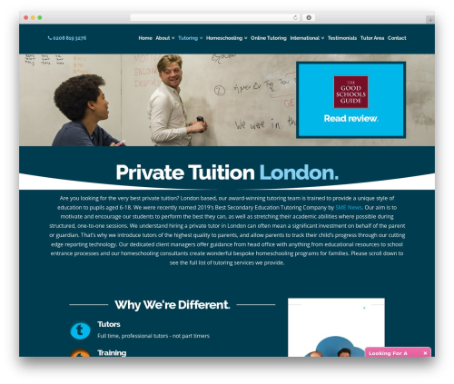 X WordPress website template - minervatutors.co.uk/private-tuition-london