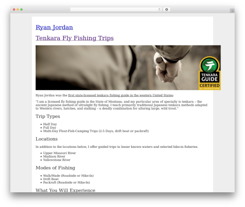 BLANK Theme WordPress page template - ryanjordan.com/tenkara-fly-fishing
