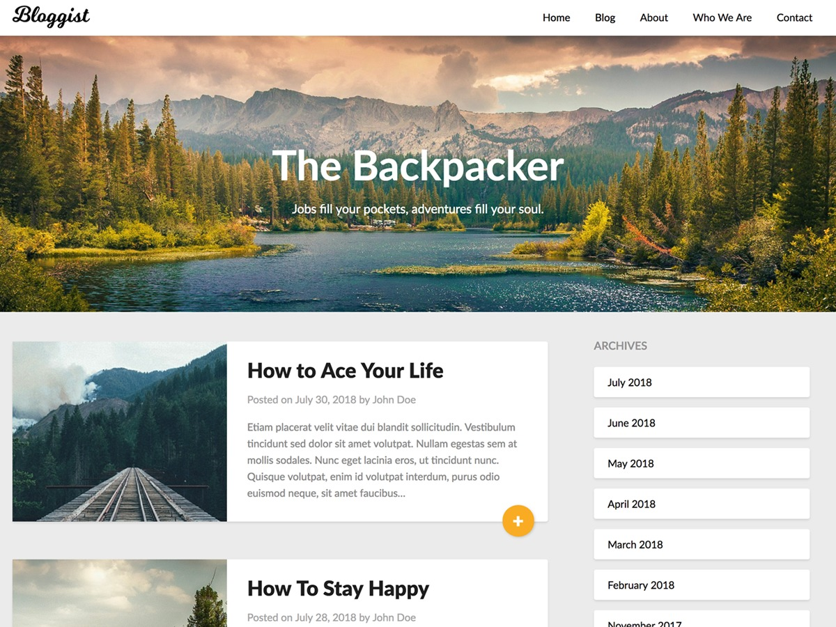 Bloggist WordPress blog theme