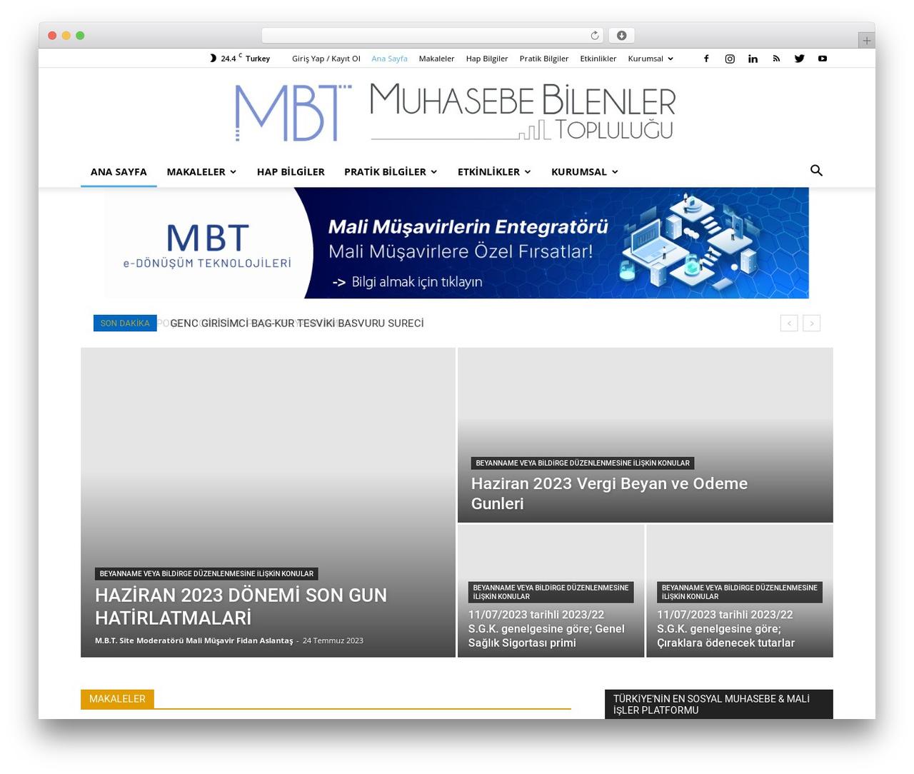 Newspaper WordPress news theme - muhasebebilenler.com