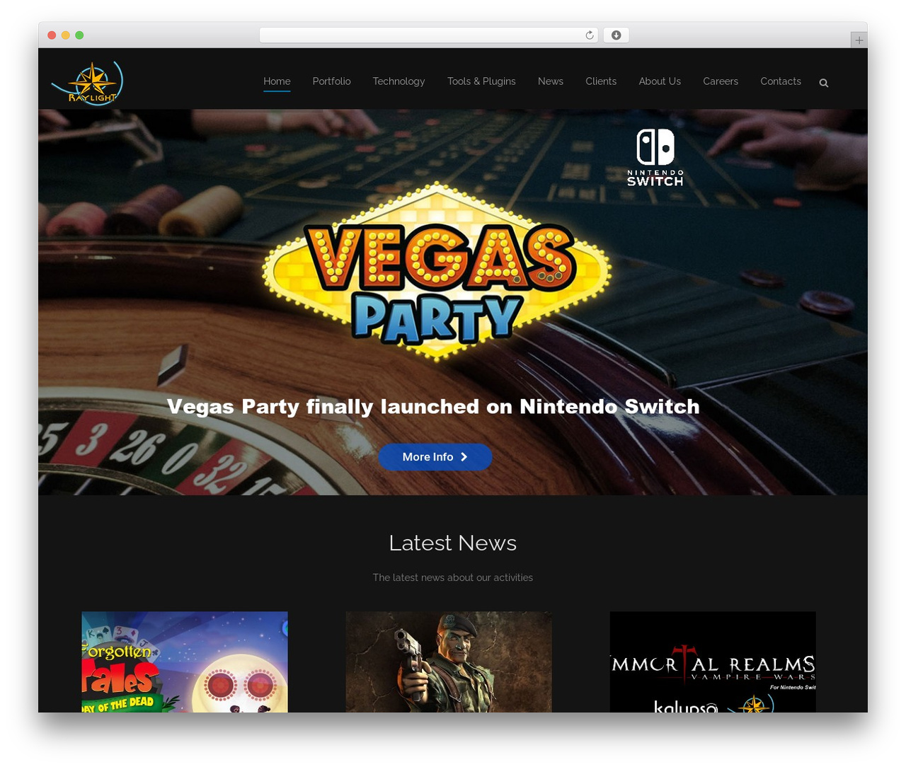Sanigo WordPress gaming theme - raylightgames.com