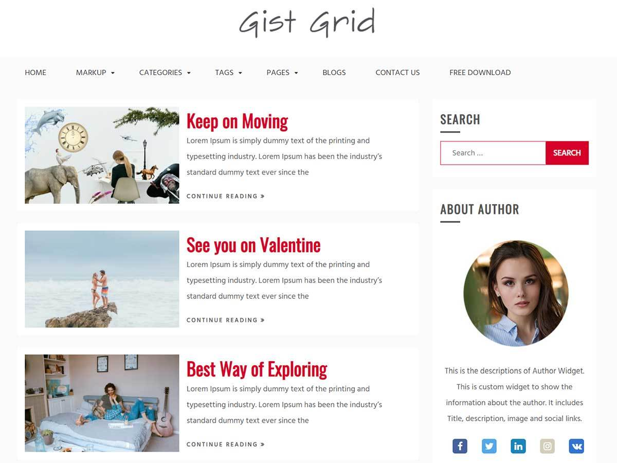 Gist Grid WordPress magazine theme