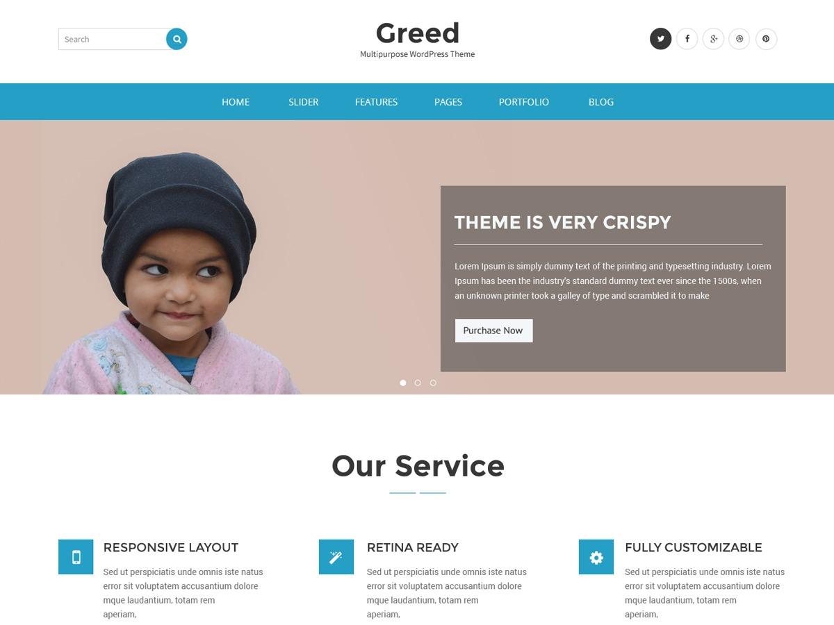 Greed WordPress blog template
