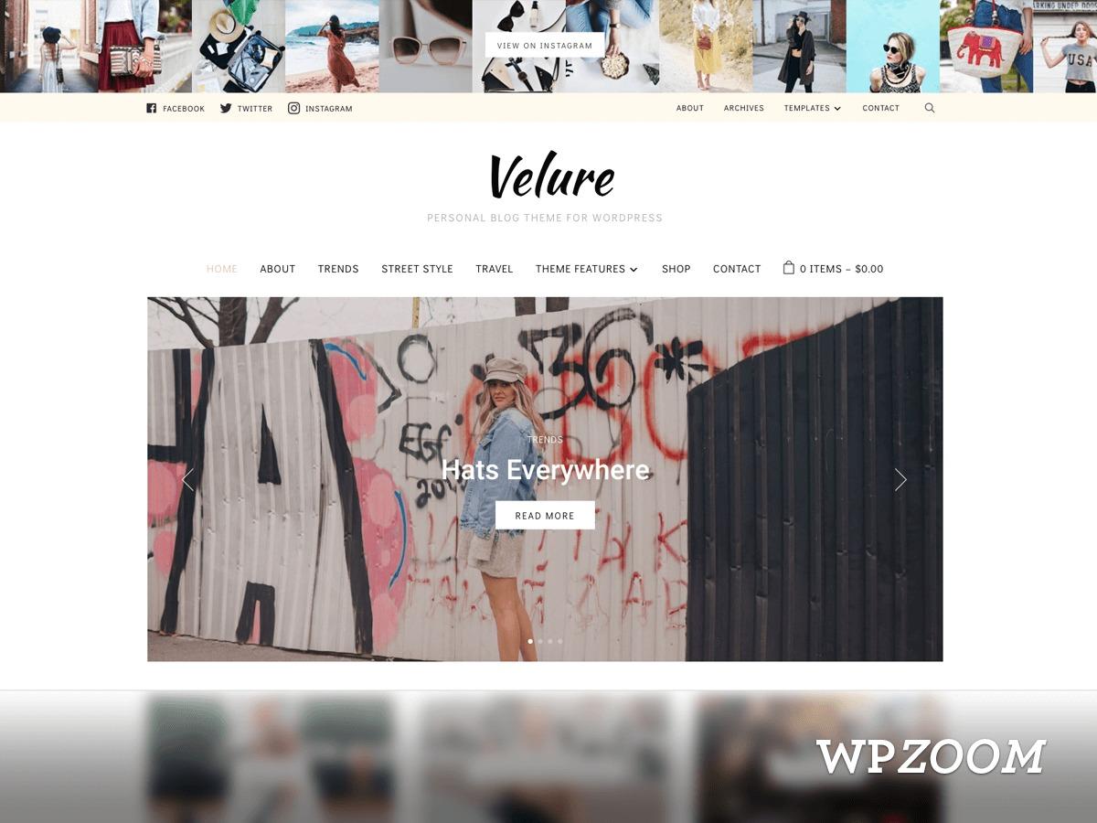 Velure WordPress blog template